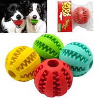 Soft Rubber Chew Ball Toy For Dogs Dental Bite Resistant Tooth Cleaning Dog Toy Balls for Pet Training Playing Chewing 4 Colors