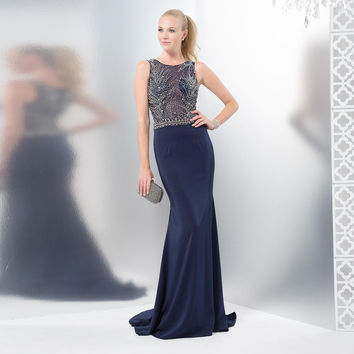 COLORS 1445 Mikado Sheer Illusion Beaded Top Prom Dress Evening Gown