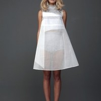 Sheer White Dress with Applique   NOT JUST A LABEL