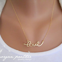 Cursive Love Necklace in Gold  Dainty Love by morganprather
