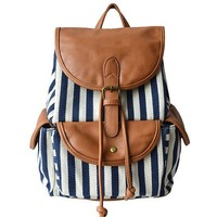 Yesiyan Women's Large Canvas Navy Blue and White Striped Backpack