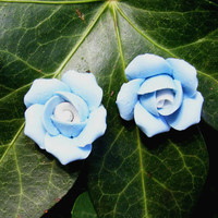 Blue Roses Polymer Clay Earrings