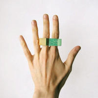Gemstone geometric wooden Amazonite Ring, statement knuckle double ring, gemstone wooden jewelry, color block minimalist, emerald and beige