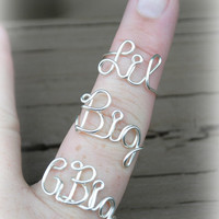 Adjustable Wire Wrapped Word Ring G Big, Big and Lil Sorority Rings