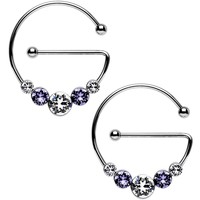 Purple and Clear Universal Nipple Ring Set Created with Swarovski Crystals