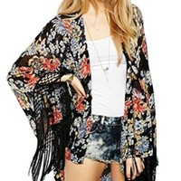 Jollychic Women's Loose Floral Print Long Sleeve Tassels Kimono Blouse Cardigan