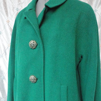 ON SALE XL//50s 60s Coat //  Vintage 50s 60s Emerald Green Wool Coat w the Most Beautiful Metal Buttons in the World by Stroock Paris London