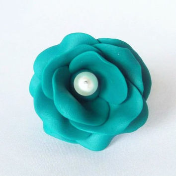 Teal Rose Ring, Statement Ring, Polymer Clay Jewellery,Adjustable Ring, Rose Jewellery