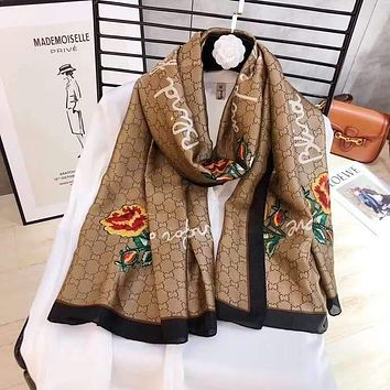 """Gucci"" Spring Summer Women Temperament Fashion Double-Sided Letter Flowers Print Spell Color Stripe Silk Scarf Shawl"