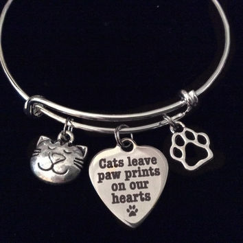 Cats Leave Paw Prints on our Heart Charm on a Silver Expandable Adjustable Wire Bangle Bracelet Meaningful Gift Animal Lover Gift