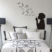 Boy Blowing Music Notes Wall Decal Sticker Bubbles by DabbleDown