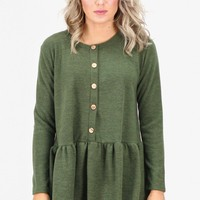 Fleece Sweater Relaxed Peplum Blouse {Olive}