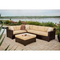 Hanover Metropolitan 5-Piece Patio Sectional Seating Set with Sahara Sand Cushions METRO5PC at The Home Depot - Mobile