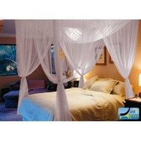 Just Relax Four Corner Post Elegant Mosquito Net Bed Canopy Set, White, Full/Queen/King - Walmart.com