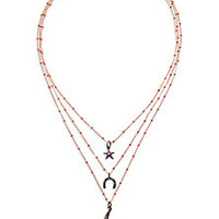 IAM by Ileana Makri - Grey Diamond, Ruby, Oxidized Silver & Bronze Starry Night Luck Triple-Row Necklace - Saks Fifth Avenue Mobile