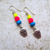 Sugar Skull Earrings on Sterling Silver, Neon Hippie Day of the Dead Jewelry for Dia de los Muertos, Yellow Pink and Blue