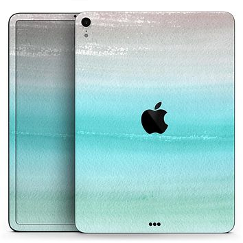 "Lined Mint 9672 Absorbed Watercolor Texture - Full Body Skin Decal for the Apple iPad Pro 12.9"", 11"", 10.5"", 9.7"", Air or Mini (All Models Available)"