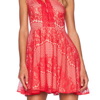 Red Spaghetti Strap Hollow Lace Dress