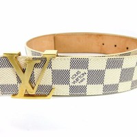 Auth LOUIS VUITTON Damier Azur Ceinture Initiales LV Belt #32/80 Great 42523