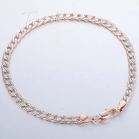 4mm Rose Silver Gold Filled Bracelet Small Curb Cuban Hammered Link Chain Bracelet Mens Womens Chain Bracelet 7-11inch LGB125
