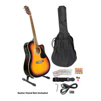 41 Acoustic-Electric Guitar Package with Gig Bag, Strap, Picks, Tuner, and Strings (Sunburst Color)