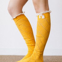 Mustard Lace Trim Knit Boot Socks Stretchy Over the Knee Lace Boot Socks with Buttons and Crochet Trim (BS-110C)
