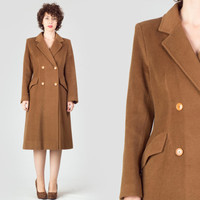 70s Camel Tailored Coat / Double Breasted Tan Wool Coat / Classic Elegant Masculine Medium M Coat