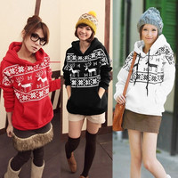 Women Girl Deer Print Winter Fleece Coat Jacket Hooded Sweatshirt Outwear  7_S