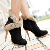 Women Boots Platform High Heels Winter Boots Ladies Shoes Sexy Stiletto Ankle Boots with Fur Shoes Black Green Small Size  34-39