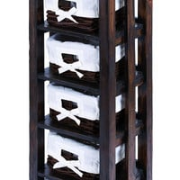 """Traditional 50"""""""" Wooden Rattan Storage Table with 6 Shelves"""