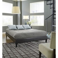Queen Size Brown Faux Leather Upholstered Platform Bed Frame