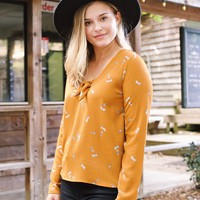 Autumn Leaves Printed Top, Mustard