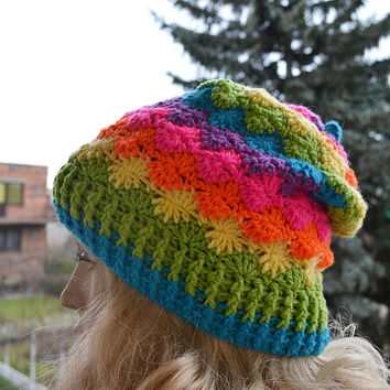 Crocheted muticolor cap / hat lovely warm autumn accessories women clothing crochet Hat Womens lovely