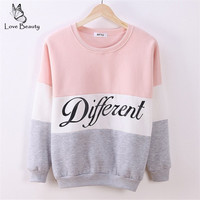 2015 Autumn and winter women fleeve hoodies printed letters Different women's casual sweatshirt hoody sudaderas EPHO80027