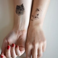 cat temporary tattoo - ONE - single fake cat tatt - 7designs to choose from - realistic tattoo - mix and match - cattoos