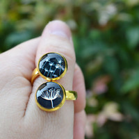 Black and White Dandelion Flower Glass Ring, Double Ring Stacking Ring Gold Statement Ring