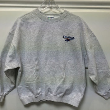 Vintage Reebok Sweatshirt Pullover Made in USA  Heather Grey Medium