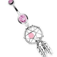 """Body Accentz® Belly Button 316L Surgical Steel Dream Catcher Woven Star Design with Bead and Feathers Fancy Navel Ring Dangle Body Jewelry 14g 3/8"""" HO714"""