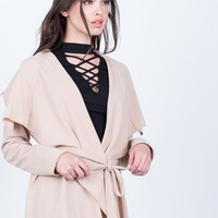 Flowy Draped Waist Tie Jacket