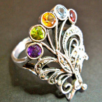Multi Gem Ring Sterling Silver Filigree by Roma Marcasites Art Nouveau Vintage sz 6.5 - 7