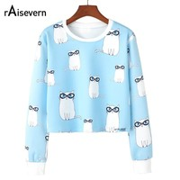 Raisevern Spring Women Long Sleeve Crop Tops Cute Cat/Rainbow/Heart Print Women O Neck Tops Shirts Harajuku Streetwear Dropship