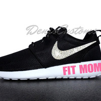 Nike Roshe Run One Black with Swarovski Glitter Crystals Swoosh and Pink FIT MOM Paint