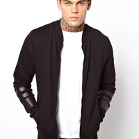 ASOS Bomber In Jersey With Sleeve Stripe