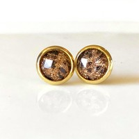 8mm Leopard Sparkle studs in gold