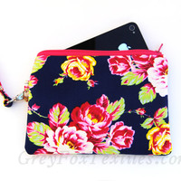 Handmade navy blue floral wristlet, clutch, iPhone case in yellow, mint, hot pink