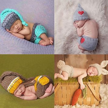born Baby Cute Crochet Knit Costume Prop Outfits Photo Photography Baby Hat Photo Props born baby girls Cute Outfits