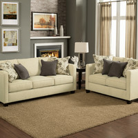 A.M.B. Furniture & Design :: Living room furniture :: Sofas and Sets :: Sofa Sets :: 2 pc Aura creampuff fabric upholstered sofa and love seat set with square arms