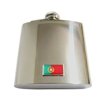 Thin Bordered Portugal Flag Pendant 6 Oz. Stainless Steel Flask