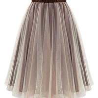 Tan Sheer Elastic Waist Skater Skirt
