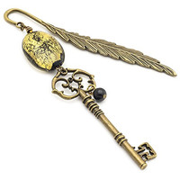 Skeleton key, black venetian glass and brass feather metal bookmark 4.5 in